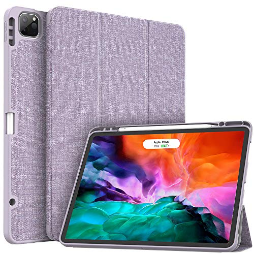 Soke New iPad Pro 12.9 Case 2020 & 2018 with Pencil Holder - [Full Body Protection + Apple Pencil Charging + Auto Wake/Sleep], Soft TPU Back Cover for 2020 iPad Pro 12.9(Violet)