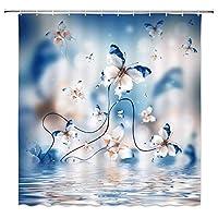 海の水の上を飛んでファンタジー蝶浴室の窓の装飾のための生地のホックが付いているポリエステル防水シャワー・カーテン60X72in