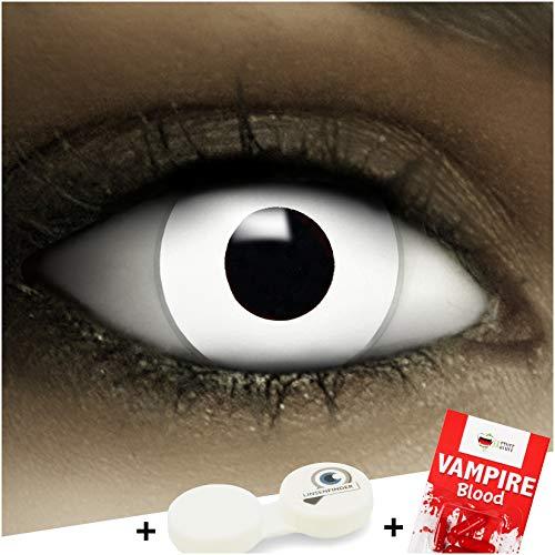 Farbige weiße Kontaktlinsen Zombie + Kunstblut Kapseln + Behälter von FXCONTACTS®, weich, ohne Stärke als 2er Pack - perfekt zu Halloween, Karneval, Fasching oder Fasnacht