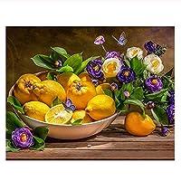 油絵 数字キットによる絵画 塗り絵 大人 手塗り フルーツ- DIY絵 デジタル油絵 40x50 センチ (diyの木製フレーム)