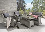 Destiny Loungegruppe PAGUERA Sofaset Sofagruppe Light Grey incl. Polster anthrazit (86117)
