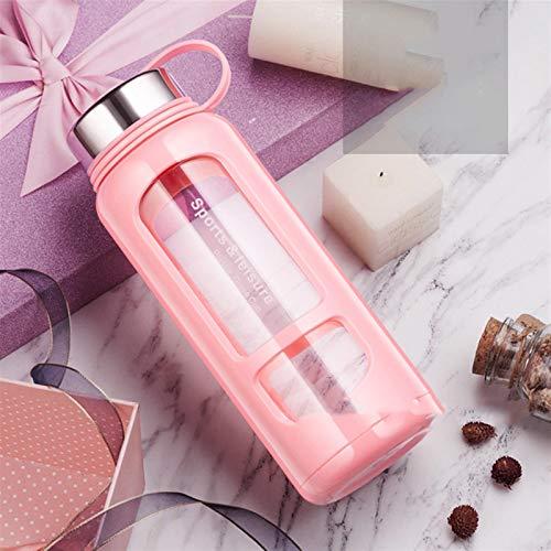 WEARRR 700ml 1000ml Botellas de Agua de Vidrio portátil Botella de Espacio al Aire Libre Botella de Agua Deportes Botella de Agua a Prueba de Fugas Escalada (Color : Pink 1000ml)