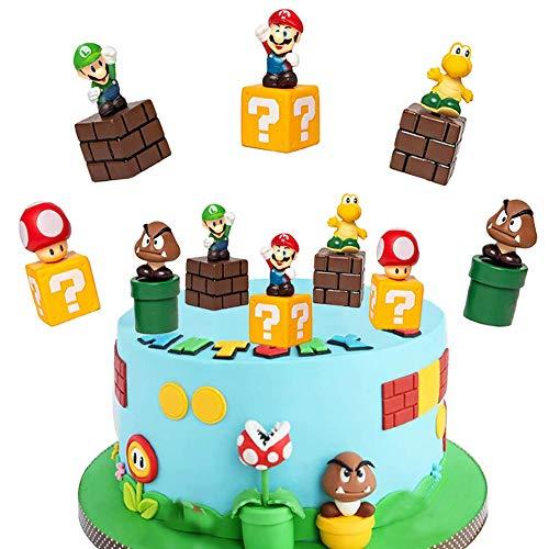 SUNSK Decorazioni Torta Super Mario Decorazioni per Torte di Compleann Festa Mario Cake Topper...