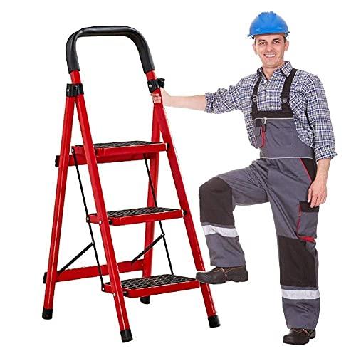 FCXBQ Escalera Plegable de 3 a 5 peldaños, escalerillas Ligeras de Acero de Home Depot, Capacidad de 200 kg con Agarre Manual, Antideslizante y Pedal Ancho (tamaño: 3 peldaños con pasamanos)
