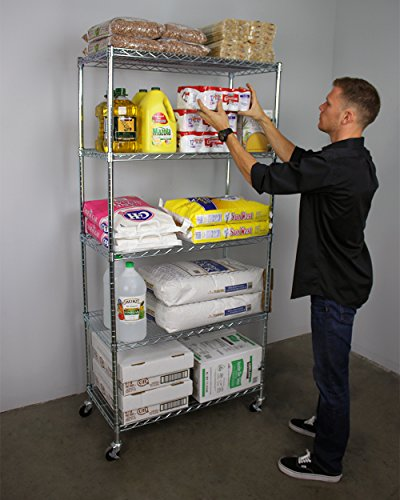 """SafeRacks NSF Certified Commercial Grade Adjustable 5-Tier Steel Wire Shelving Rack with 4"""" Wheels - 18"""" x 48"""" x 72"""" (18""""x48""""x72"""" 5-Tier)"""