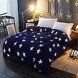 HOHH - Funda de edredón de forro polar para cama individual (150 x 200 cm), diseño de estrellas azules y blancas