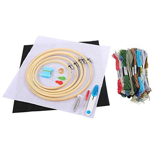 Stickerei Starter Kit, unvollendete DIY Kreuzstich Handwerk mit mit Bambus Kitting Hoops, Nadel, Faden, Schere, Wickler, Fingerhut, Maschentuch