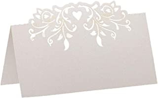 60pcs Lace Wedding Table Name Place Cards Personalised Reception Decoration with White Lace Pattern Cardstock for Wedding Favors,Party