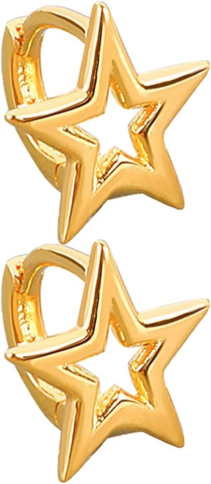 Holibanna 1 Pair Retro Star Buckle Stud Earrings Drop Earrings Dangle Earrings Piercing Ear Wrap Hook Body Jewelry for Women Girls Gift Golden