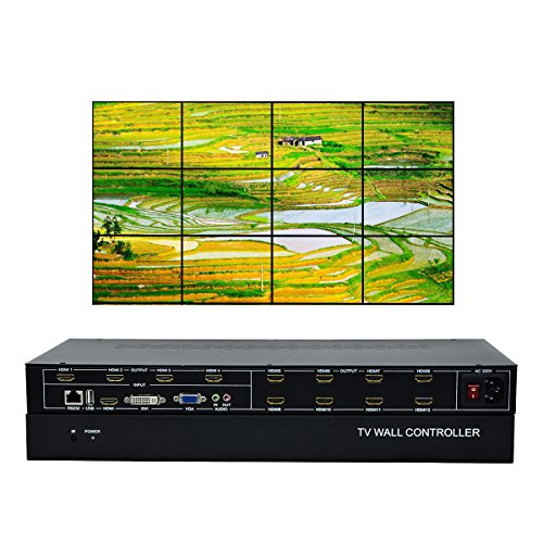 ISEEVY 12 Channel Video Wall Controller 3x4 2x6 2x5 HDMI DVI VGA USB Video Processor with RS232 Control for 12 TV Splicing