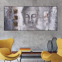 """キャンバスウォールアート写真グレーモダンラージスタイルポスター抽象アートブッダウォールプリントリビングルームの家の装飾11.8"""" x23.6""""(30x60cm)1pcsフレームなし"""