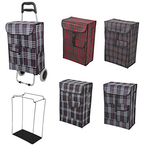 Klappbarer 40L Einkaufswagen, Einkaufstrolley, Transportroller, Einkaufswagen, Trolley, Sackkarre mit Einkaufstasche