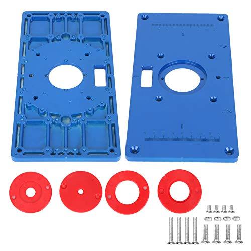 Placa de inserción para mesa de enrutador, placa abatible para máquina de corte, placa abatible para máquina de corte para carpintería Placa de inserción para mesa de enrutador de aluminio multifunció