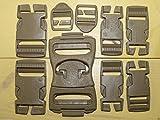 ITW Nexus 16 pc US Military Army ILBE USMC Marpat MOLLE II Camping Hiking Repair Replacement Kit Backpack Assault Pack Buckle Set Belt Webbing Desert Brown Tan 1,1.5,2' Quick Release Buckles GI USGI
