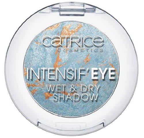 Catrice Cosmetics Intensif´Eye Wet & Dry Shadow Baked Eyeshadow gebackener Lidschatten Nr. 060 Brooke´s Blue Lagoon Farbe: Hellblau/Silber/Gold Inhalt: 0,8g Lidschatten für strahlend schöne Augen