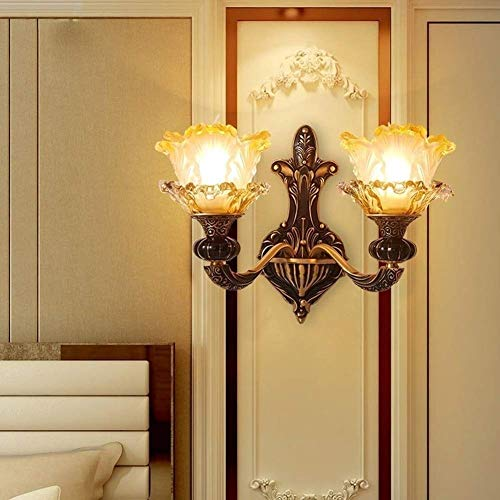 FWQ Wall Lighting Fixture Retro Glass Wall Lantern Dining Loft Bathroom Indoor Wall Mount Lamp That Plug Into Outlet Stairs Living Room Bedroom Bedside Lamp Illumination E27 Edison (Color : 2-Heads)