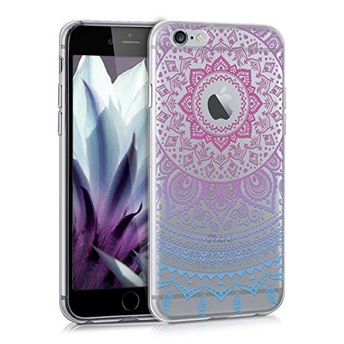 kwmobile Funda Compatible con Apple iPhone 6 / 6S - Carcasa de TPU y Sol hindú en Azul/Rosa Fucsia/Transparente