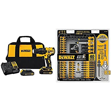 DEWALT DCD777C2 20V Max Lithium-Ion Brushless Compact Drill Driver with DWA2T40IR IMPACT READY FlexTorq Screw Driving Set, 40-Piece
