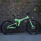 Bicicleta de montaña plegable para adultos, bicicleta de montaña con marco de doble suspensión de acero con alto contenido de carbono, ruedas y pedales de aleación de aluminio,Verde,24inch24 speed