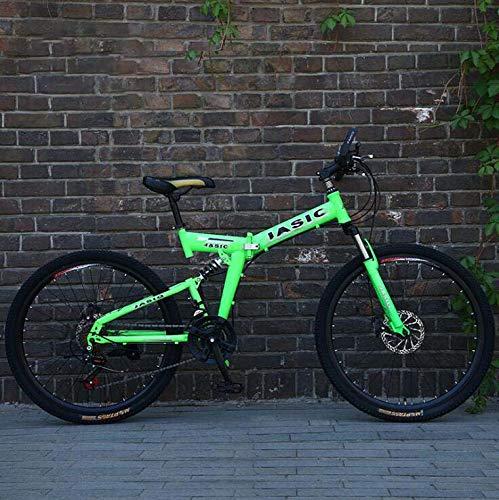 GASLIKE Bicicleta de montaña Plegable para Adultos, Bicicleta de montaña con Marco de Doble suspensión de Acero con Alto Contenido de Carbono, Ruedas y Pedales de aleación de Aluminio