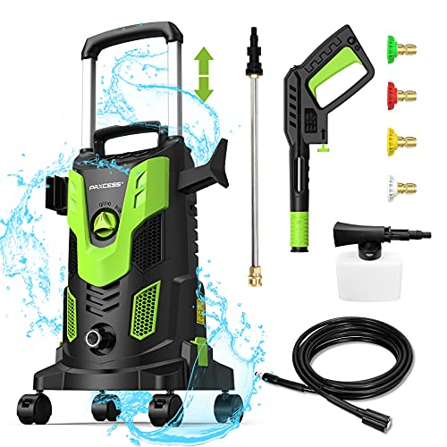 [Pro Version] Paxcess 3000PSI Electric High Pressure Power Washer 2.5GPM with 4 Spinner Wheels 4 Nozzles Foam Cannon for Car, Home, Driveway, Patio