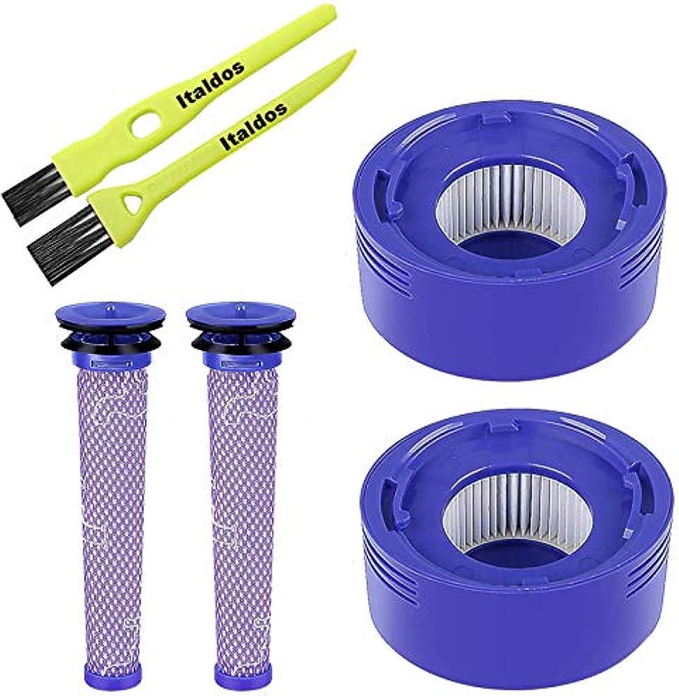 italdos kit filtro per dyson v7 v8 dc 58 dc 59 dc 61  + 2 spazzolini as-fl-dsv8