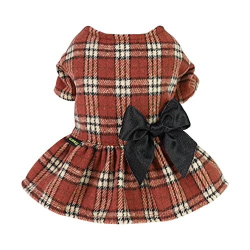 Fitwarm Lightweight Faux Woolen Plaid Dog Dresses Sweatshirts Bowknot Pet Winter Clothes One-Piece Breathable Skirt Girl Doggie Dress Cat Outfits Apparel Dark Orange Small