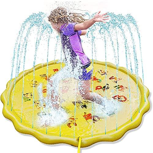 MWXFYWW Alfombrilla para Salpicaduras, aspersor y Alfombrilla de Juego para niños pequeños, Juguetes acuáticos inflables de 68 Pulgadas, los Mejores Regalos para niños de 1 a 12 años