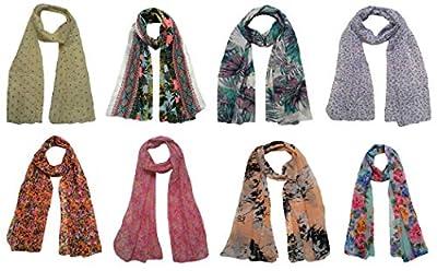 Letz Dezine ™ Printed Poly Cotton Set of 8 Mullticoloured stoles ; Designer scarf stoles dupatta for Girls/Ladies/Women's - LDS876