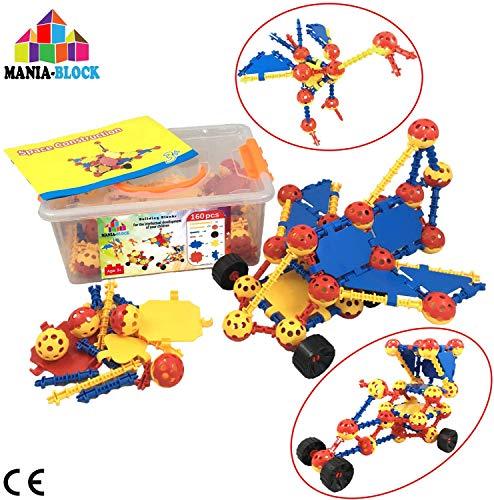 Bouwspel | 160 stuks (ballen, stokken, platen, autowielen) + stevige opbergdoos | Technisch speelgoed voor kinderen 3 4 5 6 7 8 9 jaar | Geweldig verjaardagscadeau voor jongen en meisje