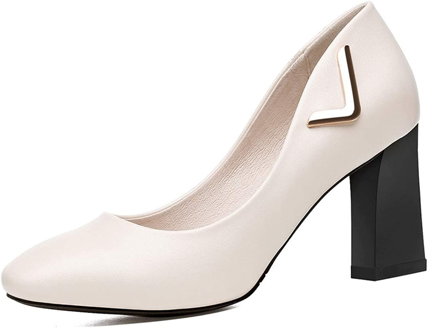 Spring High Heels New Thick with Single shoes Female High-Heeled Commuter OL Fashion with Women's shoes (color   White, Size   34)