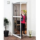 Basis Fliegengitter für Tür als Alubausatz mit Fiberglasgewebe - Profi Insektenschutz Gaze - 100 x 210 cm (weiß)