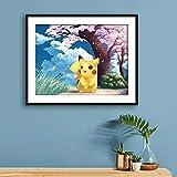Diamond Painting Strass Complet Pikachu kit de peinture au diamant complet adulte enfant décoration chambre coucher 5d animation Pokemon point de croix art diamant rond sans cadre-70X50cm