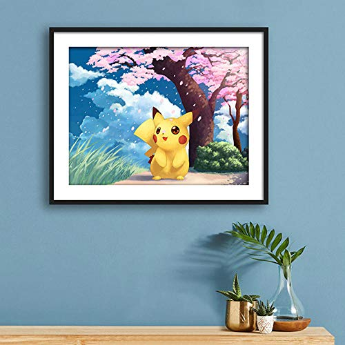 Tableau Perle Diamant Pikachu kit de peinture au diamant complet adulte enfant décoration de chambre à coucher 5d animation japonaise Pokemon point de croix art diamant rond sans cadre-60X45cm