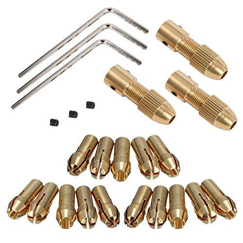 Mesee 3 Set 0.5-3mm Brass Drill Chuck Set Small Electric Drill Bit Collet Mini Twist Drill Chucks Adapter for Dremel Rotary Tools Fits 3.17mm Motor Shaft