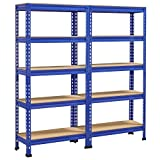 Yaheetech 5-Tier Industrial Storage Rack, Heavy Duty Garage Shelving Units, Blue, 59'' H, Pack of 2