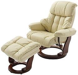 Robas Lund Leder Relaxsessel TV Sessel mit Hocker bis 130 Kg, Fernsehsessel Echtleder creme, Calgary, Kunstleder