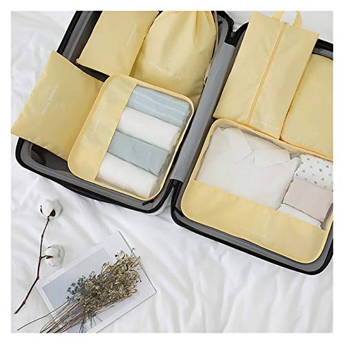 SSLHDDL Travel Luggage Organizer Sets For Clothes Shoes Storage Bag Waterproof Closet Zip Bags Suitcase Organizers Underwear Pouch (Color : Yellow)