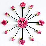 ZGYQGOO Mute Wanduhr 3D Rose Watch Art Wanduhr , Hochzeitsgeschenke Creative Home Wohnzimmer Schlafzimmer Dekoration (Farbe: Pink)