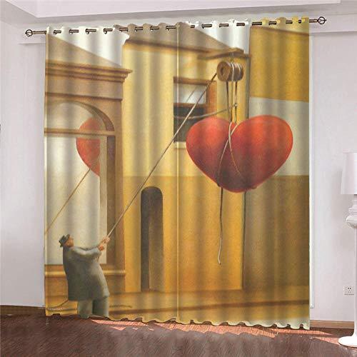 LOVEXOO Cortina Dormitorio Alzando el Amor 140x175cm(An x Al) Cortinas Poliéster de Moderno Ojales Cortina Ventana Visillos para Sala Cuarto Dormitorio Comedor Cocina Salón (2 Paneles)