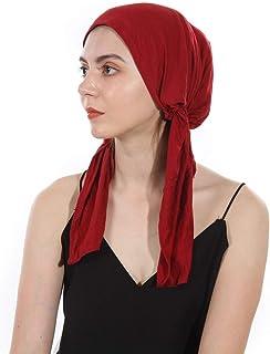 DuoZan Women's Beanie Soft Lycra Modal Cotton Turbans Chemo Caps Pre Tied Bandana Solid Color Hat