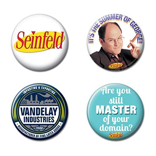 Ata-Boy Sienfeld TV Comedia Set de 4 botones coleccionables 1.25 pulgadas - Multi - talla única