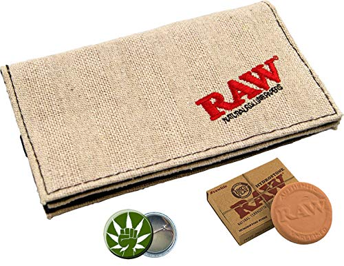 RAW Tabaktasche 155x90mm Gummiband Smoker Wallet 3 Fächer Rolling Pouch + RAW Hydrostone + Fight-Button