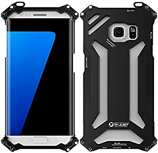 NEW R-just Armor King Stainless Steel Mobile Phone Cover Metal Case for Samsung Galaxy S7 Edge/G9350 Aviation Aluminum Cases - Black