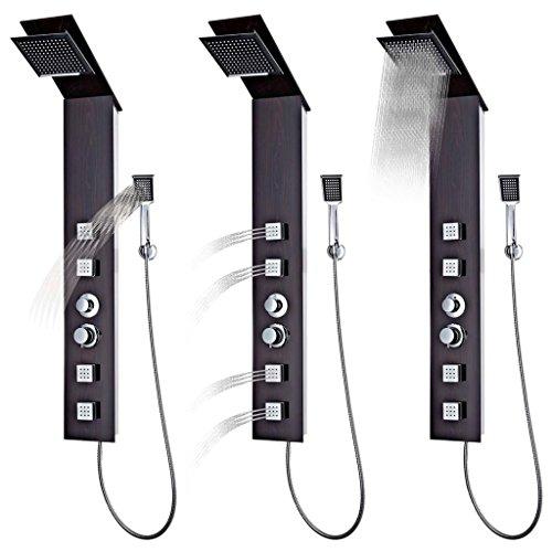 Tidyard Duschpaneel-System Regendusche Duschset Duscharmatur Regenfalldusche, Massagedüsen und einen Handduschkopf,180 Düsen mit je Einer Silikondüse: 144 Düsen an der,Einfache Montage