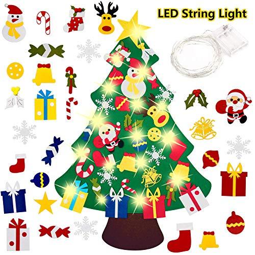 Ptsaying 100x70CM Filz Weihnachtsbaum,DIY Weihnachtsbaum 3.3ft DIY Weihnachten Set Hängend Dekor für Kinder Weihnachten Geschenk mit 50 LED Lichter, 30PCS Verzierung