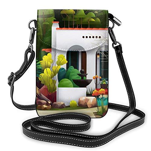 Bolso ligero del teléfono celular de la PU, bolso pequeño de la casa verde del bolso de hombro de la cartera del bolso de Pounch para las mujeres