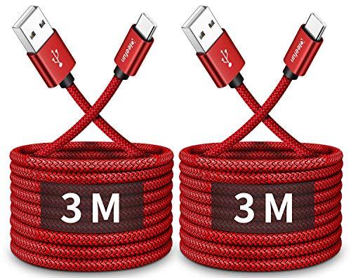 CLEEFUN 3M 2-Stück USB C Kabel, Lange USB Typ C Ladekabel, Schnellladekabel für Samsung Galaxy S10 S9 S8 S20 Plus S10e S10 lite, Note 9 8, A41 A51 A71 A40 A50 A70 A20e A30s