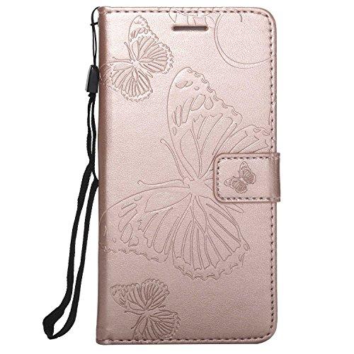 DENDICO Cover Huawei P9, Pelle Portafoglio Custodia per Huawei P9 Custodia a Libro con Funzione di appoggio e Porta Carte di cRossoito - Oro Rosa