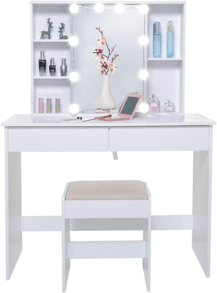 USIKEY Large Vanity Set Brand Cheap Sale Venue with 1 Mirror Slide Rail 10 Light Bulb Max 56% OFF